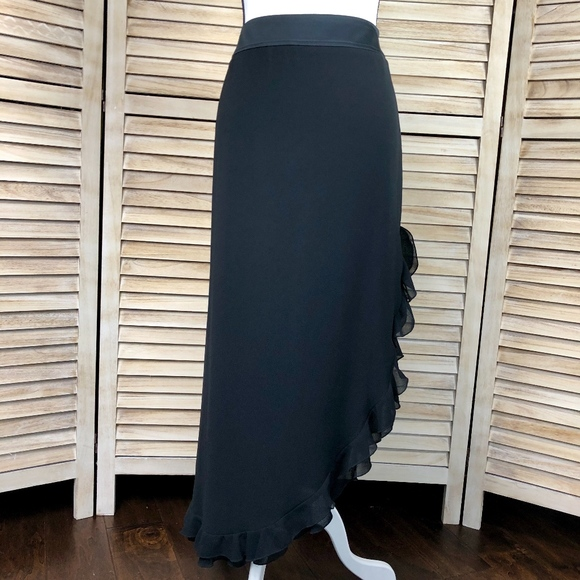 289a7d17f12 Black Side Slit Ruffled Skirt JS Collections